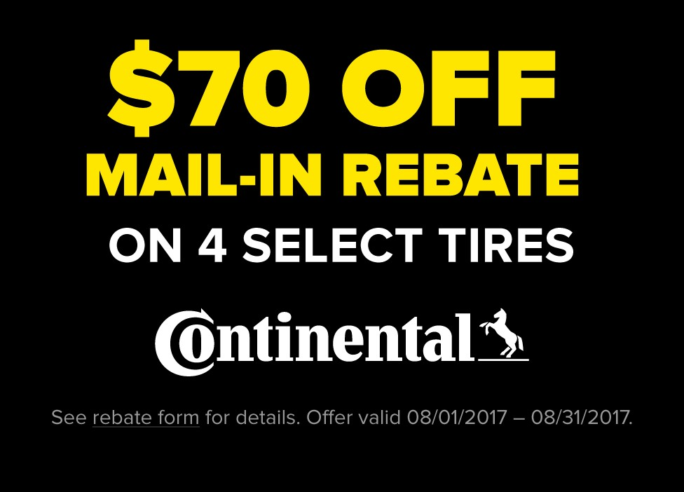 $70 Mail-in Rebate on 4 Select Continental Tires