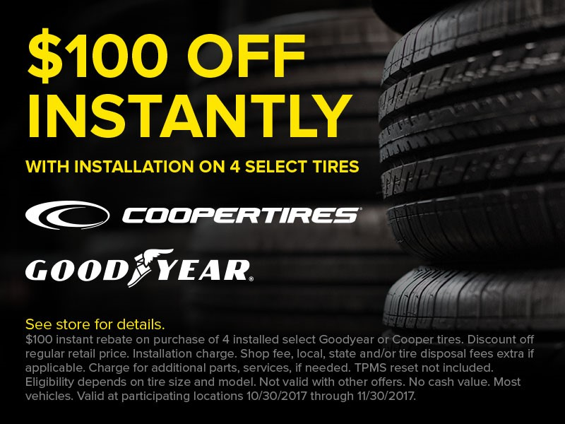 Get a $100 Instant Rebate on Tires