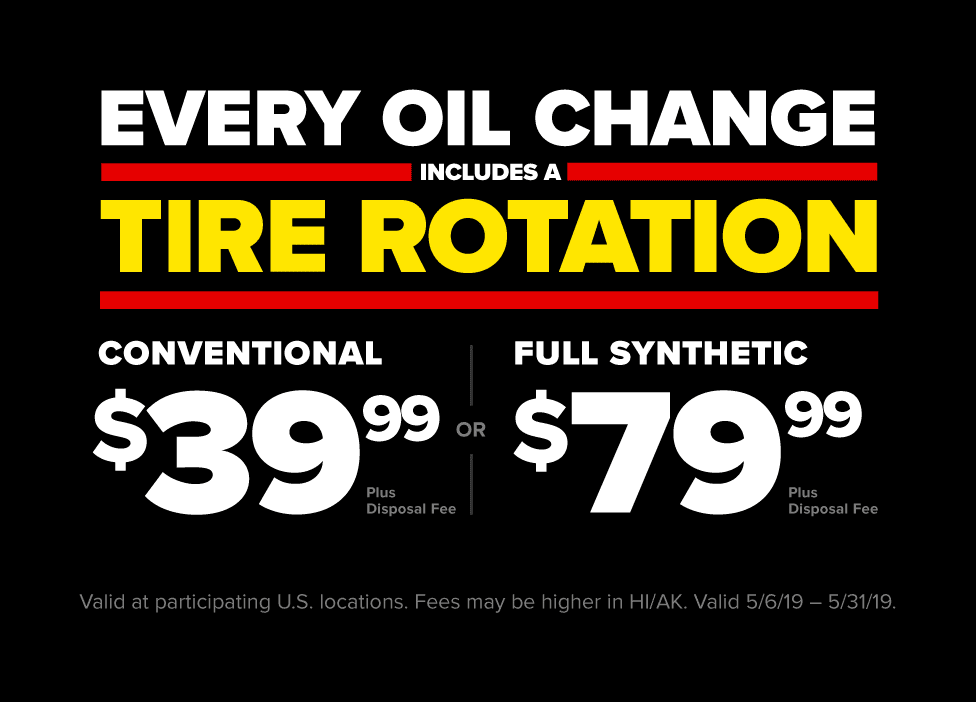 Maintain your engine, tires and wallet in one stop. Every oil change includes a tire rotation. $39.9