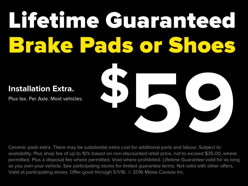 $59 Lifetime Guaranteed Brake pads or Shoes
